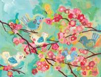 Colorful painting of birds in flowering tree